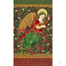 Holiday Flourish 9 Angel Fabric Panel Christmas Gold Metallic Premium Cotton