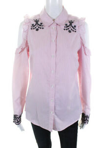 Nanette Lepore Womens Ruffle Bond Street Embroidered Top Flamingo Pink Size S