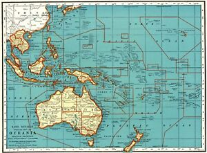 1939 Antique OCEANIA Map Philippines PACIFIC Islands South Pacific Map 9140