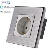 WiFi Smart Steckdose WLAN Wandsteckdose Schuko Alexa UP Weiß Alurahmen LUX 88-11