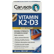 Caruso's Vitamin K2 + D3 60 Capsules for Strong Healthy Bones Calcium Absorption