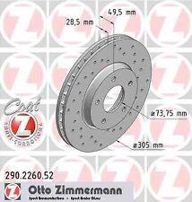 Disque de frein avant ZIMMERMANN PERCE 290.2260.52 JAGUAR XK 8 Convertible QDV R