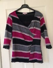 Per Una M&S Striped Lace Effect 3/4 Sleeve Top Blouse Blue Black Pink Size 10