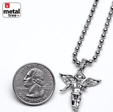 """Men's Iced Out Fashion Angel Pendant 3 mm 20"""" Ball Chain Necklace Set MMP 827 S"""