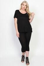 TheMogan Plus Size Casual Basic Stretch Cotton Cropped Leggings Capris