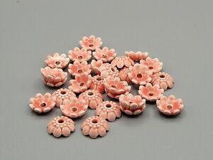 30 Piece Pink Porcelain Flower Bead Caps, Lilah Ann Beads, 8mm, A-A1574