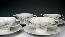 Rosenthal #3722 Retro Pink Blue Yellow Flower Cream Soup & Saucer - Set of Four