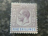 BAHAMAS POSTAGE STAMP SG88 5/- DULL PURPLE/BLUE VERY LIGHTLY MOUNTED MINT