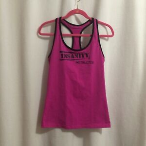 Beachbody Insanity Instructor Tank Top Size M Fuschia Lizzie Racerback T-Back