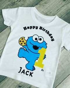 Personalised 1st Birthday White tshirt, cookie monster, blue, T Shirt 12 Months