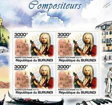 ANTONIO VIVALDI & Violin / Music Composer Stamp Sheet #4 of 5 (2011 Burundi)
