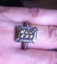 Diamond Ring-Sz 7- Round Champagne multi-gem ring-Rectangular setting Sterling