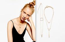 ZARA BEAUTIFUL GOLD TONE METAL CHAIN PENDANT DRESS NECKLACE MINIMALISTIC NEW