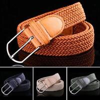 Women Buckle Leather Braided Elastic Stretch Belt Waistband Strap Men Accessory