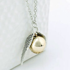 Harry Potter Quidditch Wings Golden Snitch Pendant Necklace Gold & Silver AU