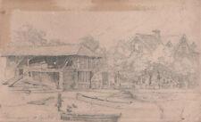 VILLAGGIO CAMPAGNA LAGO - Village Country Lake - Drawing Disegno a Matita 1800