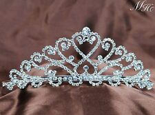 Heart Bride Tiaras With Hair Combs Clear Rhinestones Crowns Wedding Party Prom