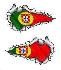 SMALL Long Pair Ripped Metal & Portuguese Flag Biker helmet Car Sticker 73x41mm