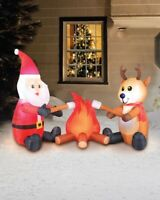 CHRISTMAS 6 FT CAMPFIRE SANTA REINDEER FIRE Airblown Inflatable YARD DECOR