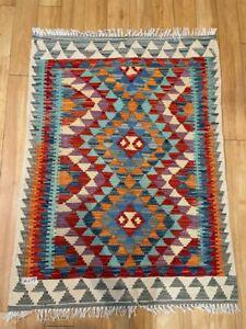 Oriental Afghan Handmade Kilim Area Rug Wool Natural Colours 200x100cm Vintage