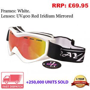 Rayzor Ski Snowboard Goggles 100% UV400 Antifog Double Red Lens RISIRE RRP£69