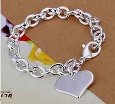 Plata esterlina 925 Corazón Link pulsera de cadena, bolsa De Regalo, Libre P&P, Grueso Cadena