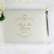 PERSONALISED Wedding Guest Book and Pen. Gold text Guestbook WEDDING Couple Gift