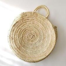Round French basket, straw tote, Moroccan Handmade straw Beach Bag, Tote Shopper