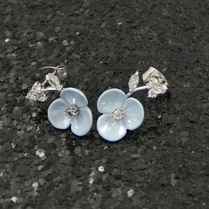 18K White Gold Filled Beautiful Spiderwort Flower Diamond 18ct GF Earring 17mm