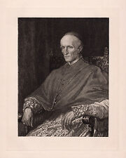 """Attractive 1800s GEORGE WATTS Antique Portrait Etching """"Cardinal Manning"""" COA"""