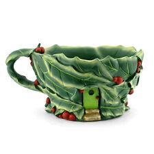Miniature Dollhouse Fairy Garden - Holly Leaf Tea Cup Planter - Accessories