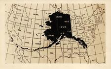 RPPC ALASKA MAP IN USA STUDIO REAL PHOTO POSTCARD (c. 1930s)