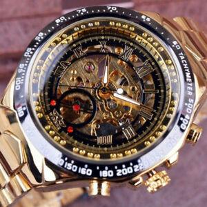 Winner Mens Luxury Automatic Mechanical Skeleton Stainless Steel Wrist Watch UK