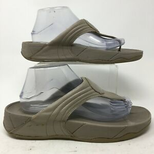 FitFlop Walkstar 3 Thong Wedge Sandals Womens 10 Grey Leather Casual 030-068