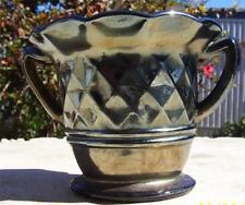 PRETTY VINTAGE AMETHYST CARNIVAL GLASS DIAMOND PATTERN TWIN HANDLED LOVING CUP