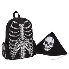 Unisex Backpack Multi Functions Style Skeleton Skull Print Double Zipper Closure