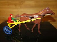 Vintage Wolverine Horse w/ Sulky Wind-up Harness Racing Toy in working condition