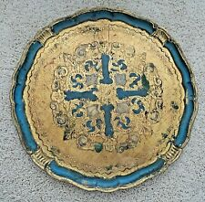 VINTAGE FIRENZE WOOD GOLD TOLE PAINTED LARGE ROUND TRAY ITALY