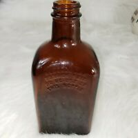 Vintage Antique Amber Square Bottle Liquor Apothecary Federal Law Forbids Sale