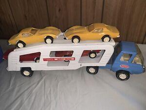 Vintage Tonka Motor Mover Truck Transporter Car Hauler Carrier W/ 4 Corvettes
