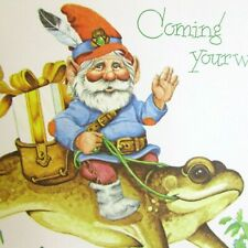 Child's Birthday Card Gnome Riding Frog Artist Alton Langford Magic Myth Fantasy