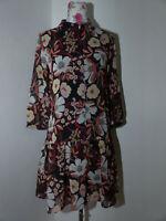Neues Hallhuber Damen Chiffon Kleid Gr 38 Vintage Blumenprint Langarm