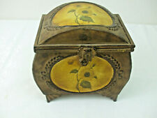"""Ornate Display Box Brown Metal Matted Color Finish Hinged Footed Sunflower 8"""""""