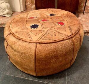 Genuine Leather Vtg Pouffe Eastern Moroccan Egyptian Poufe Handmade Footstool