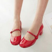 NEW Spring Mary Janes Women's Cuban Heel Patent Leather Casual Shoes Plus Size