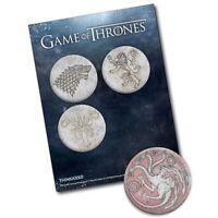 GAME OF THRONES Pin Set of 4 Greyjoy, Lannister, Stark, and Targaryen Houses HBO