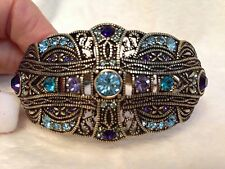 Heidi Daus Purple and Blue Crystal CUFF Bracelet ROMANTIC INTERLUDE, S/M