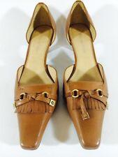 Etienne Aigner Women's Shoes Brown Leather Heels Size 8M Monogram Tassels