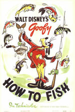 Goofy How to fish Goofy 1942 Disney cult cartoon movie poster print