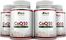 CoQ10 100mg, 4 x 120 Coenzyme Capsules UK Made 100% Guarantee Nu U Nutrition